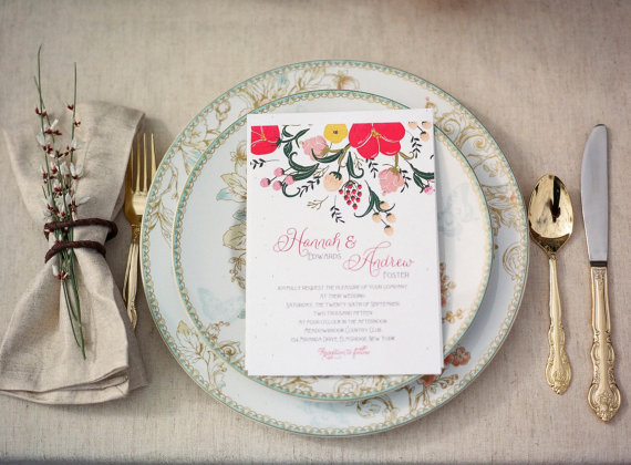 6 Colorful Wedding Invitations with Florals