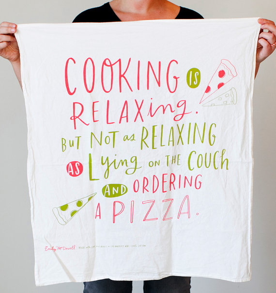 cooking is relaxing tea towel - tea towels for wedding showers
