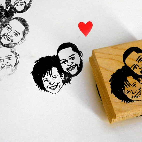 Custom portrait rubber stamp | http://emmalinebride.com/invites/custom-portrait-rubber-stamp/