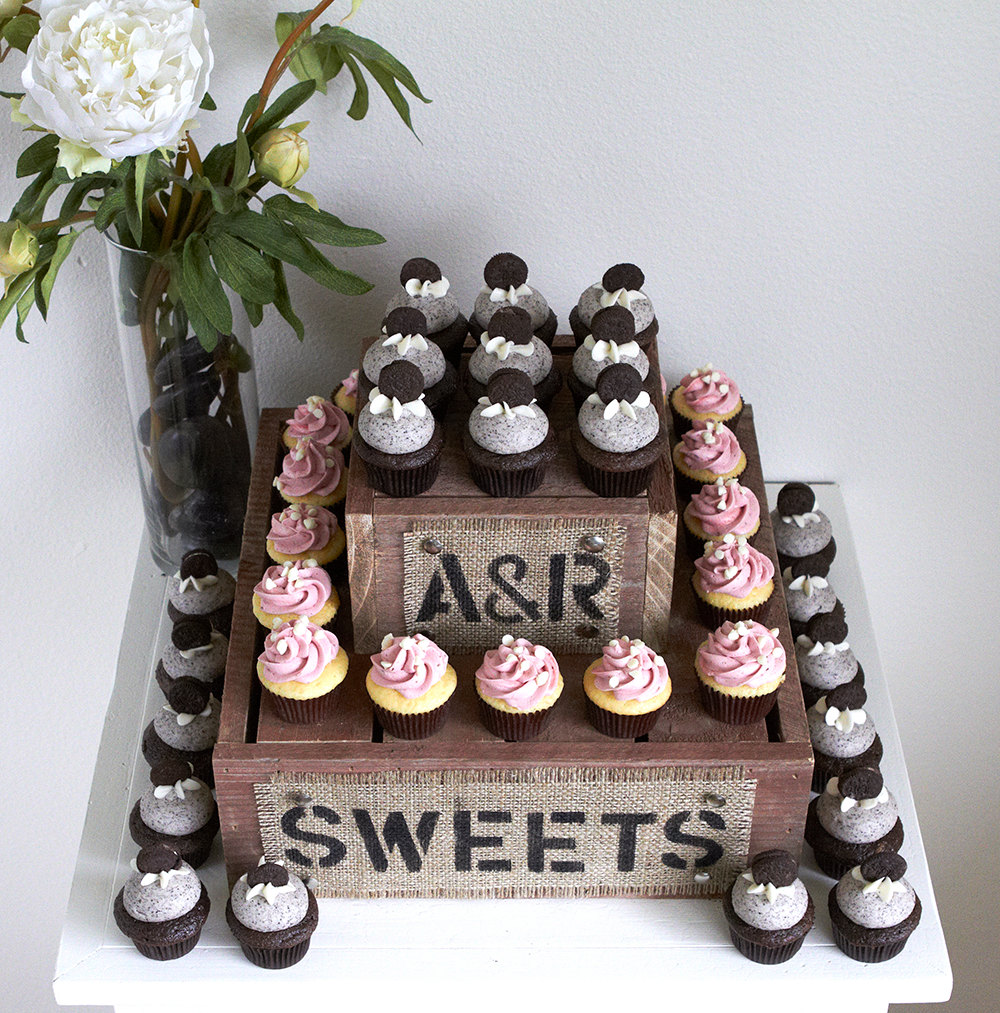 cupcake tower with burlap sweets sign | 50 Best Burlap Wedding Ideas | via http://emmalinebride.com/decor/burlap-wedding-ideas/