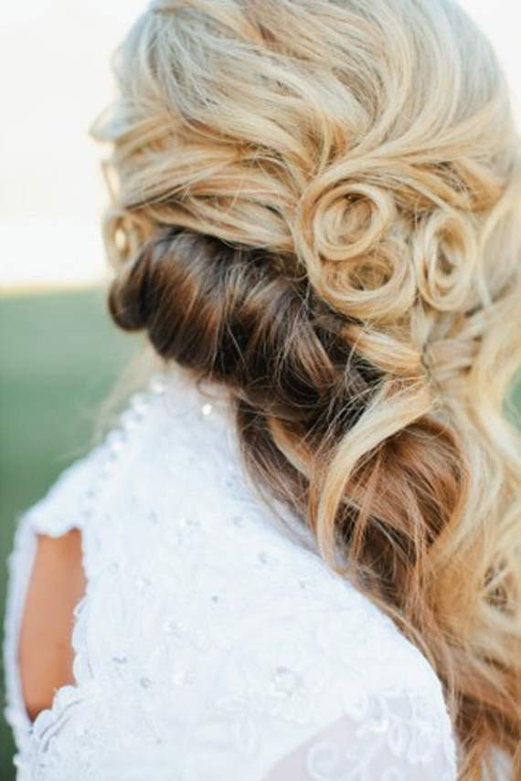 Curly long wedding hairstyles bride curly long wedding