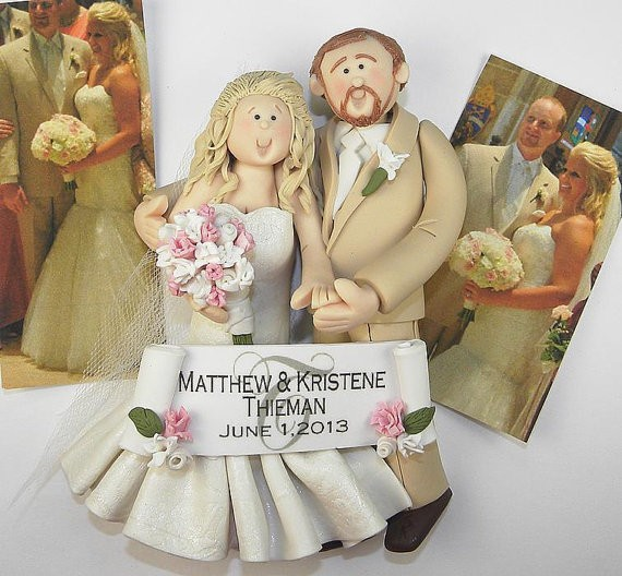 custom clay figurine christmas ornament married by BertsClayCreations