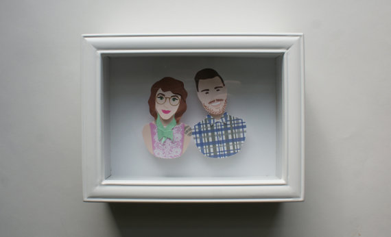 custom couple paper art via Top 10 Non Registry Wedding Gifts