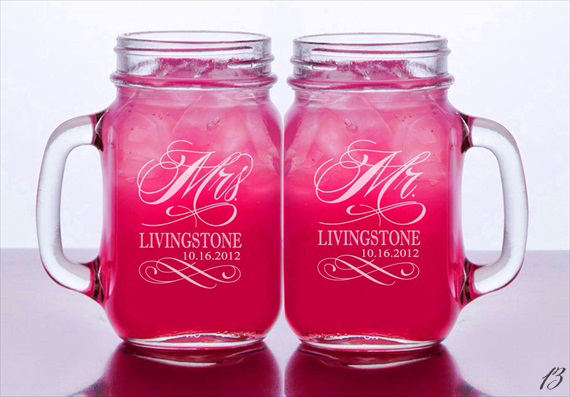 custom engraved dates mason jar glasses via 16 Unique Wedding Date Gifts http://emmalinebride.com/gifts/wedding-date-gifts/