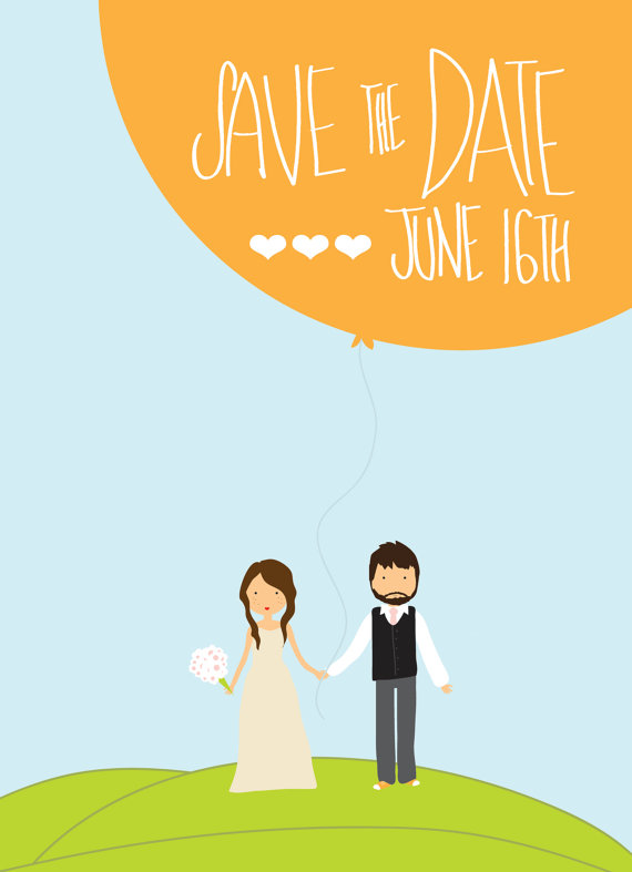 couple holding balloon // illustrated save the dates