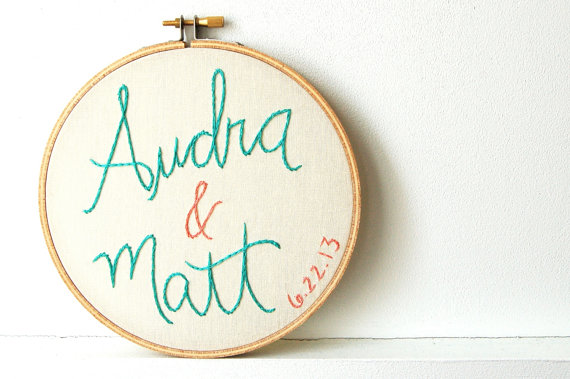 custom name embroidery hoop wedding hoop art