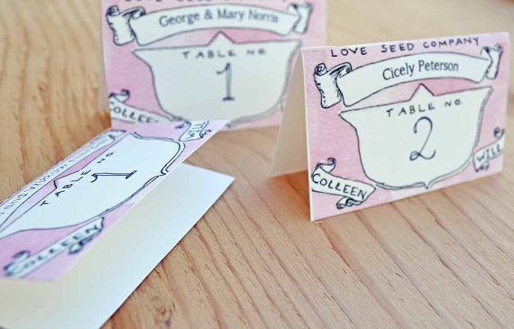 custom place cards in watercolor - paper goods wedding