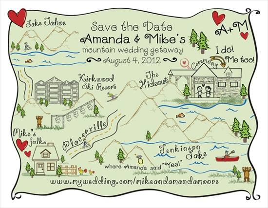 Custom Wedding Map (by MaKenzieNoelle Creative via EmmalineBride.com)