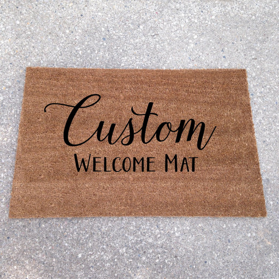 custom welcome mat | custom doormats etsy find from lorustique http://emmalinebride.com/gifts/custom-doormats-etsy/