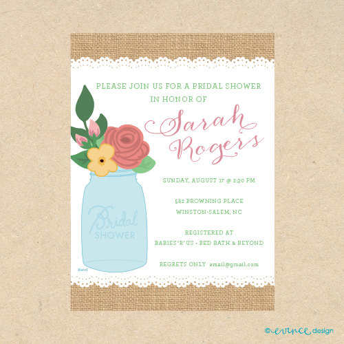 cute printed mason jar burlap inspired invitation