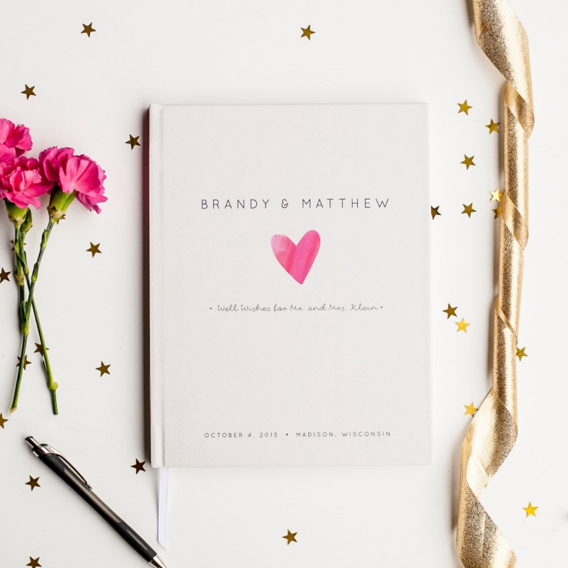 cute wedding guest book with hot pink heart