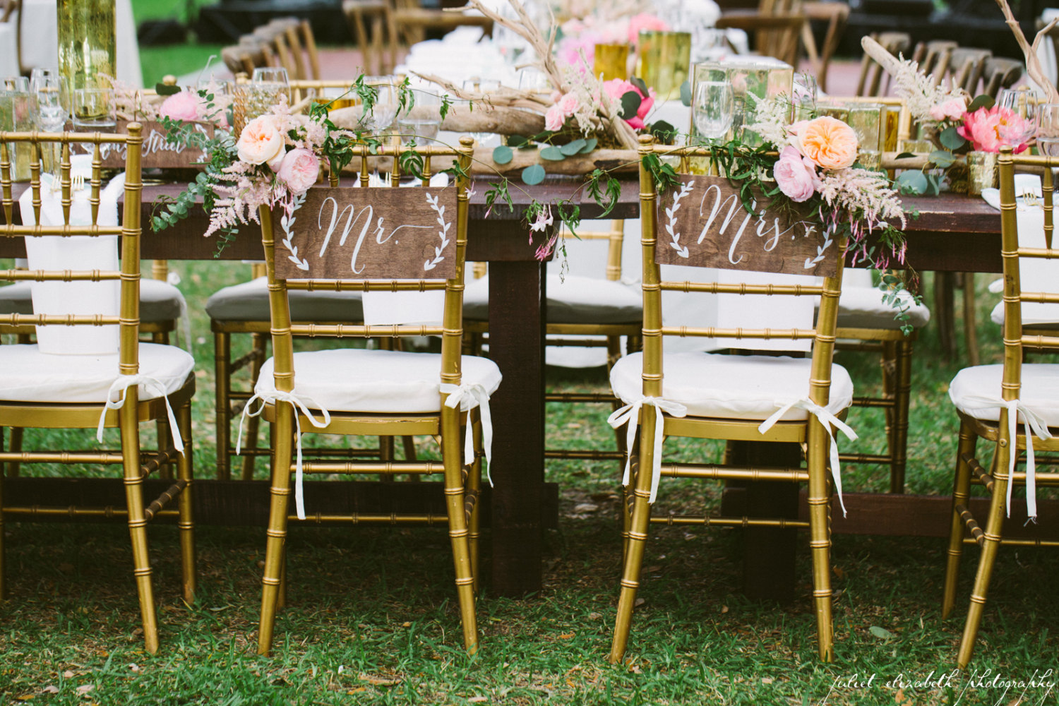 cute wooden chair signs | via bride and groom chair signs http://emmalinebride.com/decor/bride-and-groom-chairs/