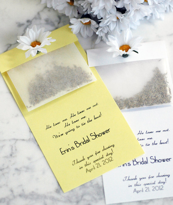 50 Best Bridal Shower Favor Ideas: daisy seed packets bridal shower