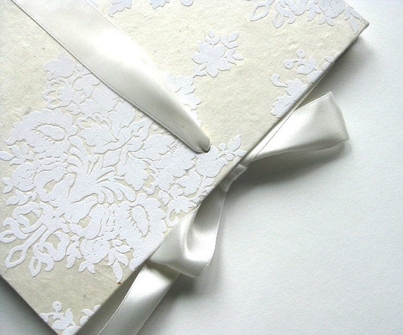 damask wedding guest book satin ribbon