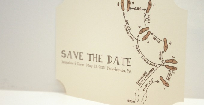 Dancing Diagram Save the Date Cards with Envelopes
