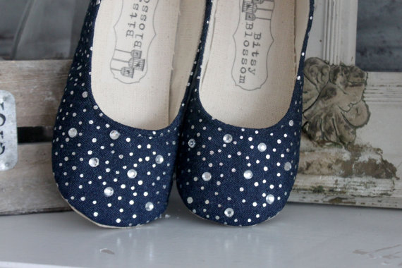 denim shoes for flower girl