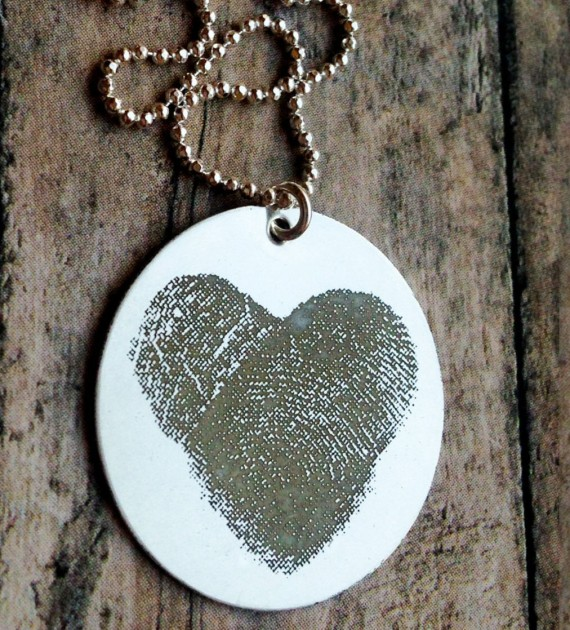 heart necklace - thumbprint wedding ideas | http://emmalinebride.com/gifts/thumbprint-wedding/