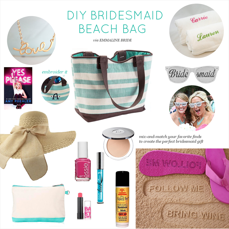 DIY Bridesmaid Beach Bag | via http://emmalinebride.com/bridesmaids/diy-bridesmaid-beach-bag/