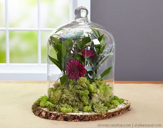 diy cloche centerpiece by divine caroline via Easy DIY Wedding Ideas