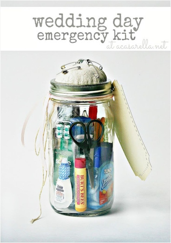 Easy Wedding DIYs - diy mason jar wedding emergency kit