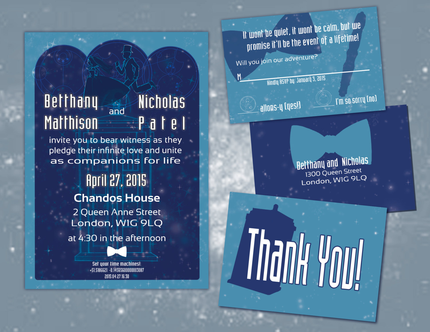 doctor who wedding invitations | via emmalinebride.com | 50+ Greatest Geeky Wedding Ideas of All Time