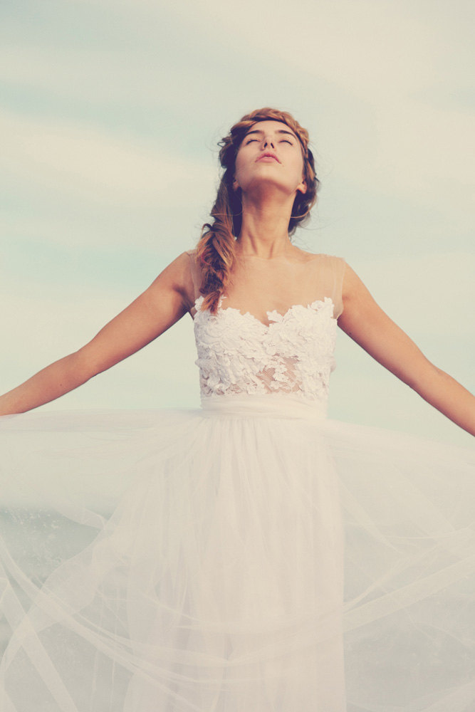 Sheer Neckline Wedding Dress | via http://emmalinebride.com/bride/sheer-neckline-wedding-dress/