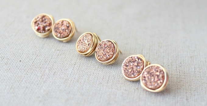 druzy earrings in rose