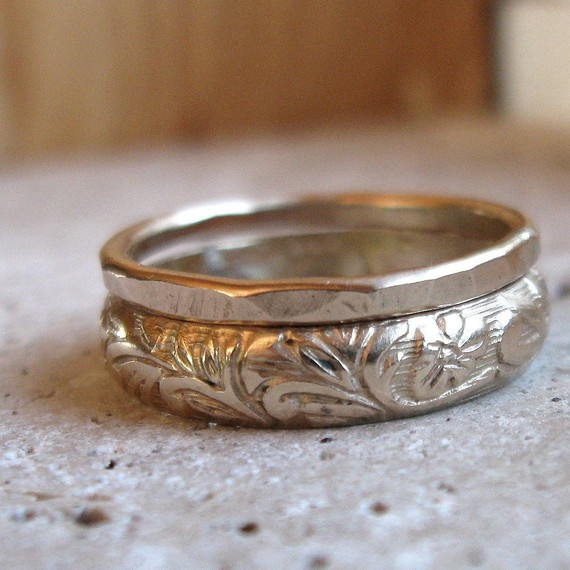 Earth Inspired Wedding Ring Set