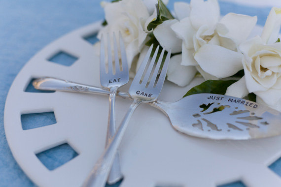 eat cake just married vintage wedding silverware