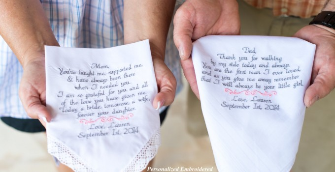 embroidered hankies parents of the bride