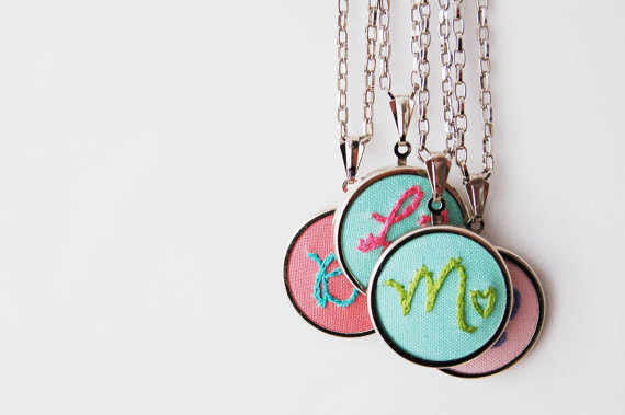 embroidered initial necklaces