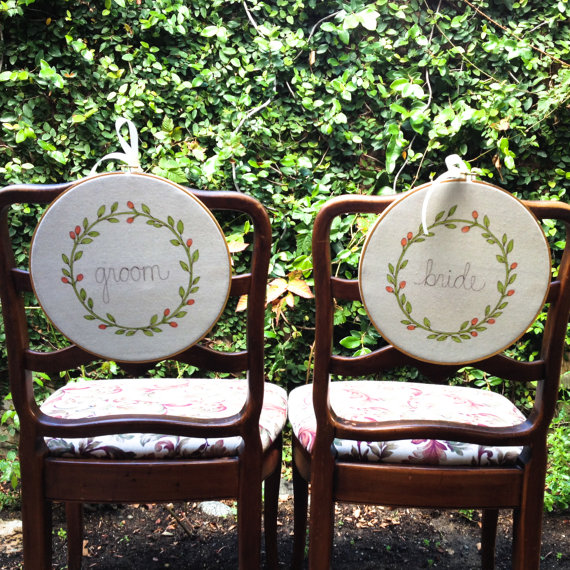 embroidered mr and mrs chair signs | via bride and groom chair signs http://emmalinebride.com/decor/bride-and-groom-chairs/