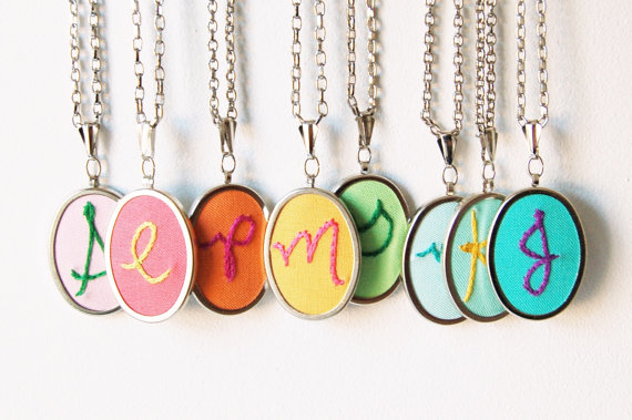 Best Bridesmaid Gifts from A-Z (via EmmalineBride.com) - embroidery necklaces by The Merriweather Council
