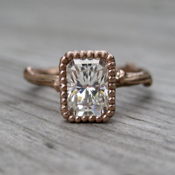 emerald moissanite twig engagement ring rose gold (via 7 Alternative Engagement Ring Ideas)