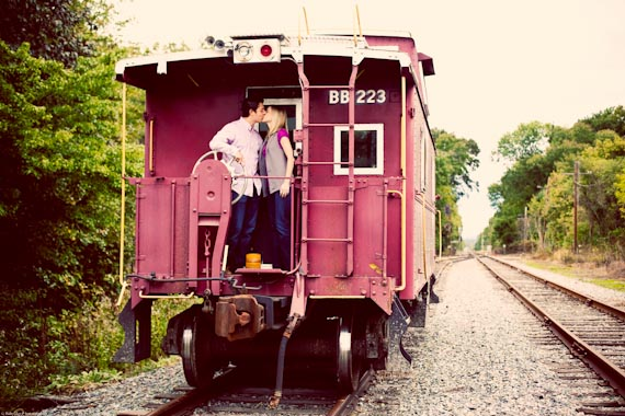 20 Best Engagement Photo Ideas: The Train (by RubySky Photography)