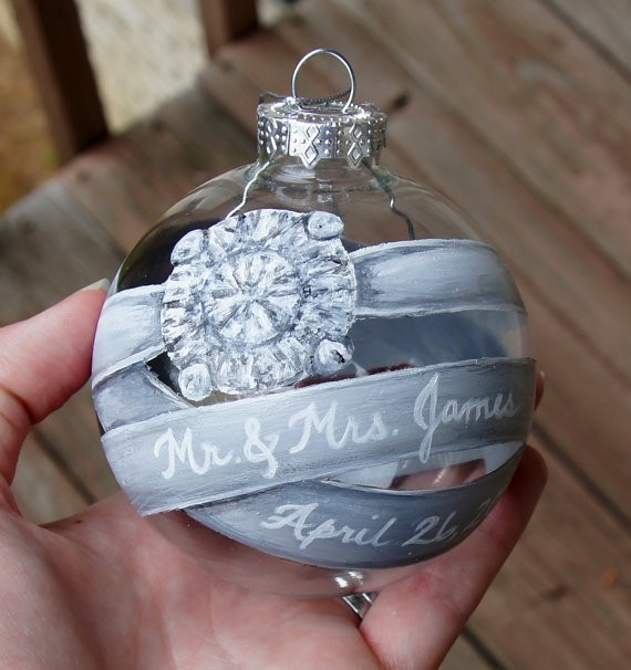 engagement ring ornament by paintingbyrebecca via 50+ First Christmas Ornaments Engaged / Married