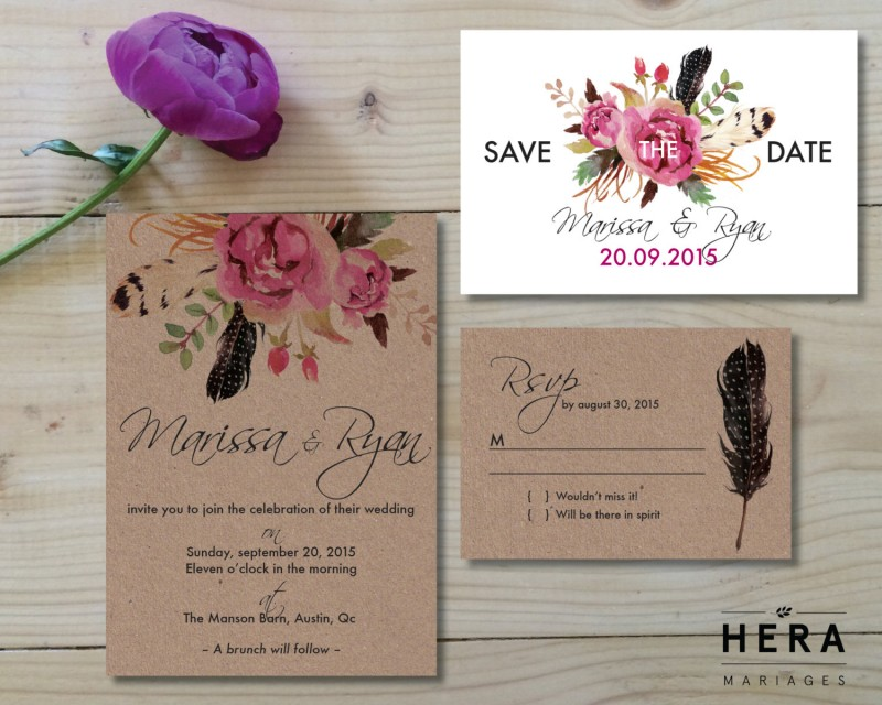 Boho inspired wedding invitations by Hera Paper Goods | etsy boho weddings | http://emmalinebride.com/bohemian/etsy-boho-weddings/