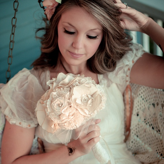 Fabric Flower Bouquet (by Autumn & Grace Bridal) - hydrangea and bling fabric bouquet