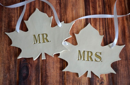 custom wedding chair signs | fall leaf wedding chair signs