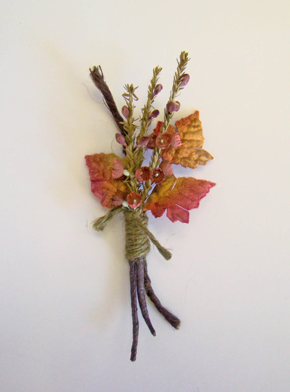 fall wedding boutonniere with leaves | 28 Best Rustic Wedding Boutonniere Ideas