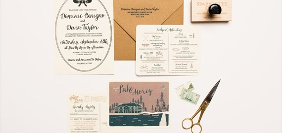 fall wedding camping invitation