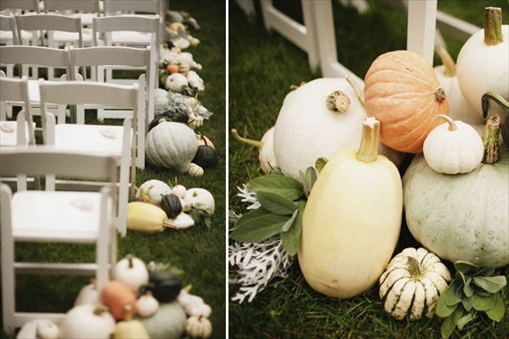 Rustic Fall Ceremony Ideas - gourds as aisle decor (styles by mckenzie powell)