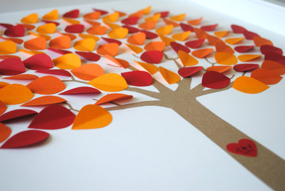 reusable wedding decorations - fall wedding guest book tree