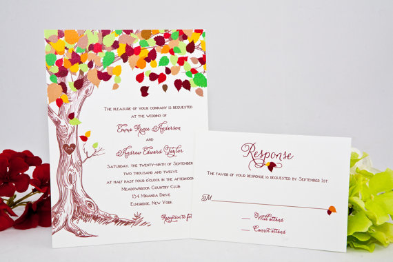 fall wedding invitation with carved initials in tree