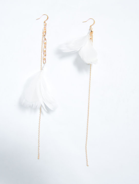 Feather Themed Wedding - feather earrings by noemiah