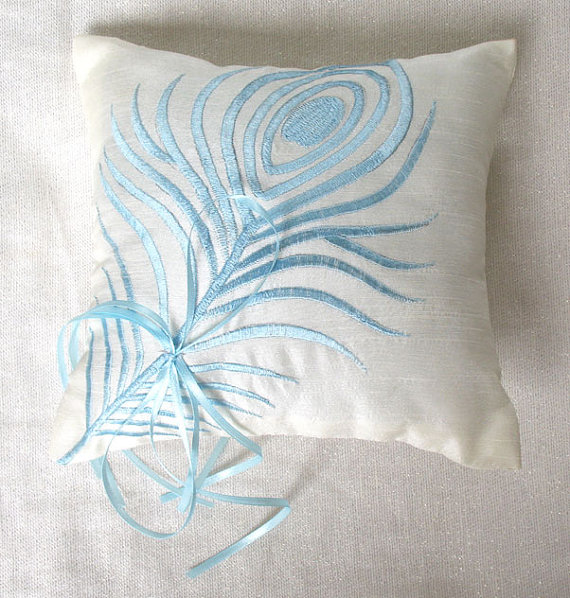Feather Themed Wedding - feather ring pillow by the comfy heaven