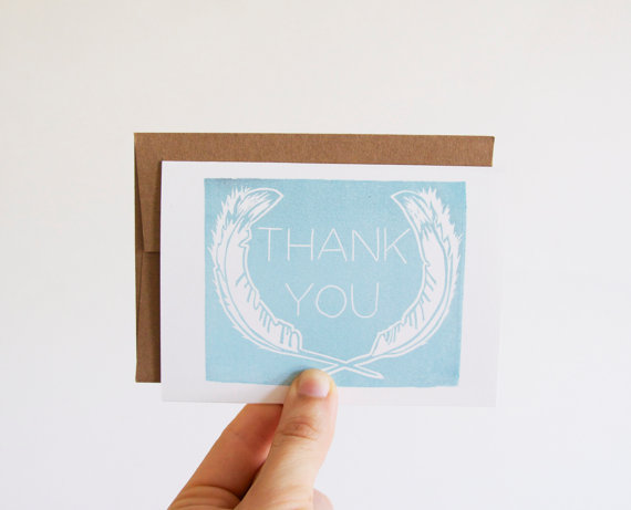 Feather Themed Wedding - feather thank you cards by native bear
