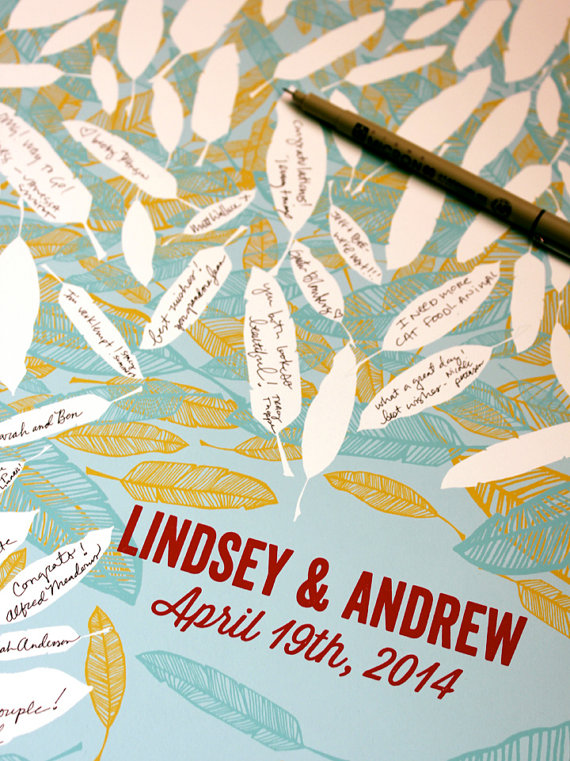 Feather Themed Wedding - guest book alternative by michelle brusegaard