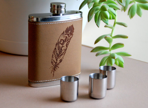 Feather Themed Wedding - feather wedding flask by a fluttered collection