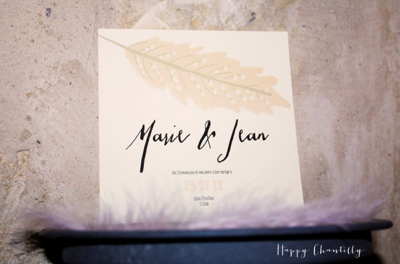 Feather Themed Wedding - feather invite by happy chantilly